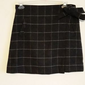 J.CREW Grey and Charcoal Wrap Wool Skirt